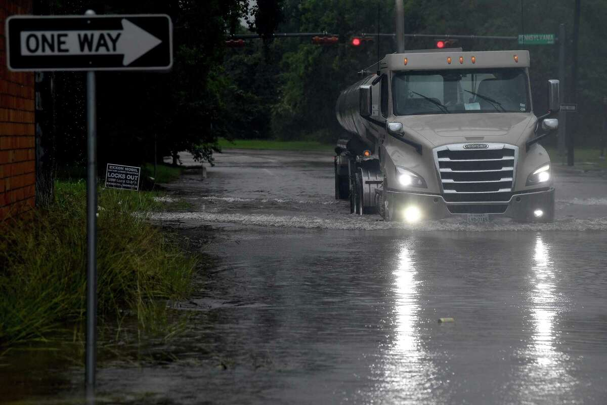 Area roadways, including Royal Street, experienced flooding as overnight storms and heavy rain persisted throughout the morning and into the afternoon. Storms and heavy rain are predicted to last through the week. Photo made Monday, May 17, 2021 Kim Brent/The Enterprise