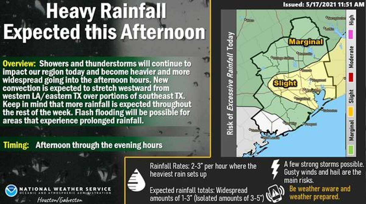 A flash flood watch is underway in southeast Texas.