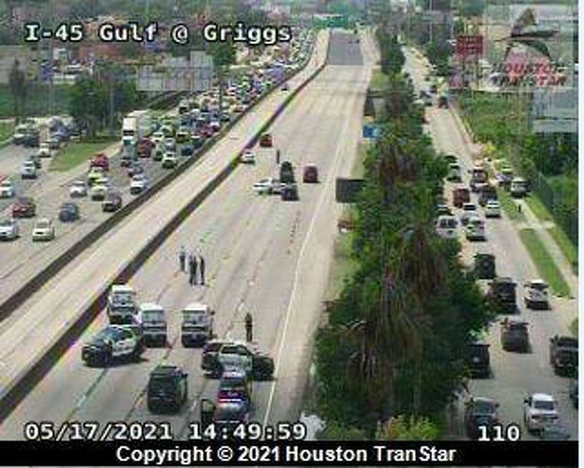 All main lanes of I-45 northbound near Griggs closed after a crash on Monday, May 17, 2021.