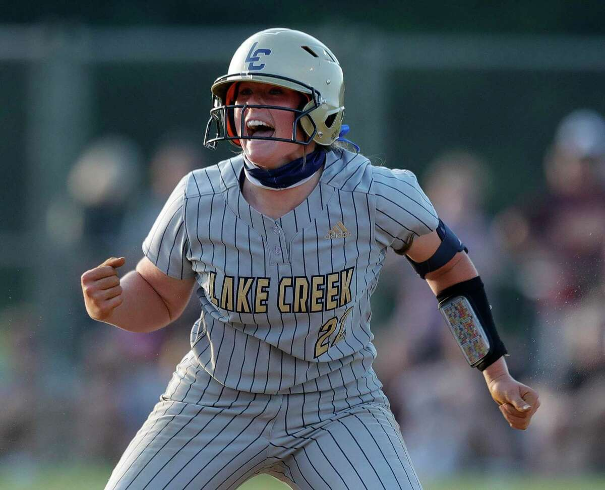Ava Brown #22 of Lake Creek reacts after hitting a double during a one-game Region III-5A quarterfinal game at Magnolia High School, Friday, May 14, 2021, in Magnolia.