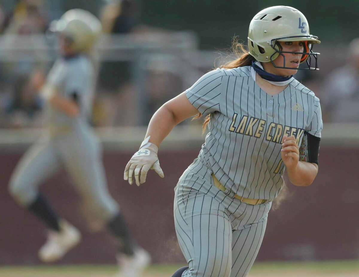 Madelyn Lopez #17 of Lake Creek hits an RBI single during a one-game Region III-5A quarterfinal game at Magnolia High School, Friday, May 14, 2021, in Magnolia.