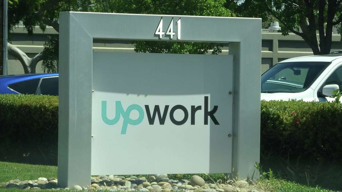 A close-up of the entrance to Upwork's former Silicon Valley headquarters.