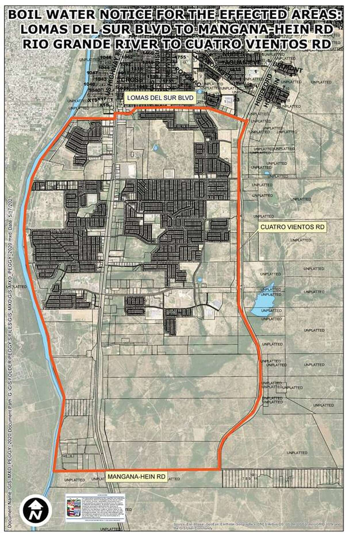 This map shows the area affected by the boil water notice issued by the City of Laredo.