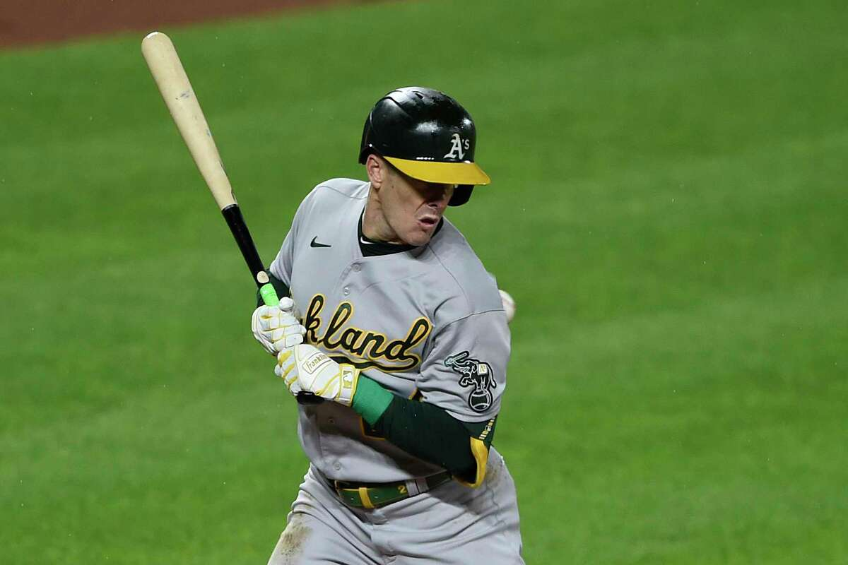 Oakland's Mark Canha has been hit by pitches an MLB-leading nine times this season.