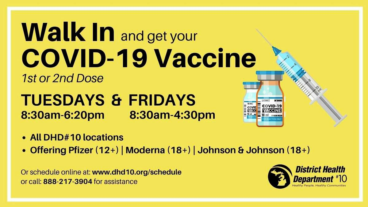 District Health Department #10 is offering walk-in clinics for COVID-19 vaccines. (Courtesy photo)