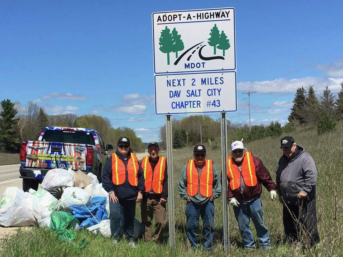 Disabled American Veterans, Salt City Chapter No. 43 completes its 2-mile stretch of roadside cleanup. Pictured are (from left) Pam Robinson, Eric Sullivan, Clarence Sullivan, Roger Yoder and Mark Lijewski. (Courtesy Photo/Eric Sullivan)