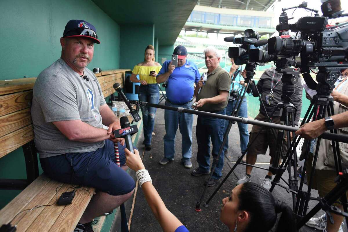 San Antonio Missions manager Phillip Wellman speaks with the press during Media Day for the San Antonio Missions baseball team at Nelson Wolff Stadium on Tuesday, April 3, 2018.