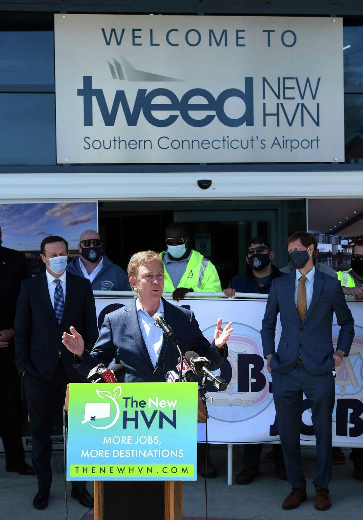 Governor Ned Lamont speaks at a press conference announcing major expansion plans at Tweed New Haven Regional Airport on May 6, 2021.