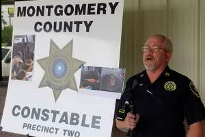 Montgomery County Precinct 2 Constable's Cpt. Greg Thomason speaks Monday at the Montgomery County Animal Shelter over a case where Zorro, a stray, was recently shot with arrows.