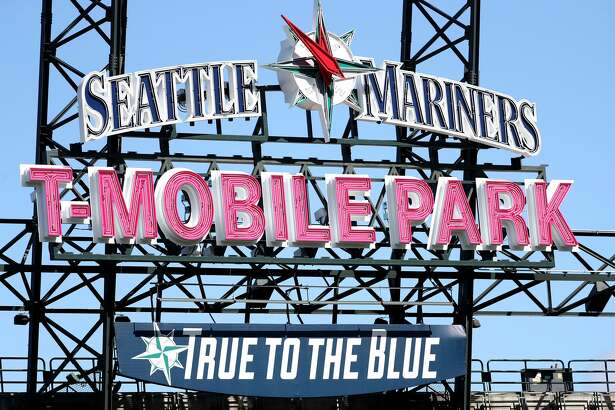 SEATTLE, WA - MARCH 26: A detailed view of the new T-Mobile Park sign as the Seattle Mariners take on the San Diego Padres during their spring training game at T-Mobile Park on March 26, 2019 in Seattle, Washington. (Photo by Abbie Parr/Getty Images)