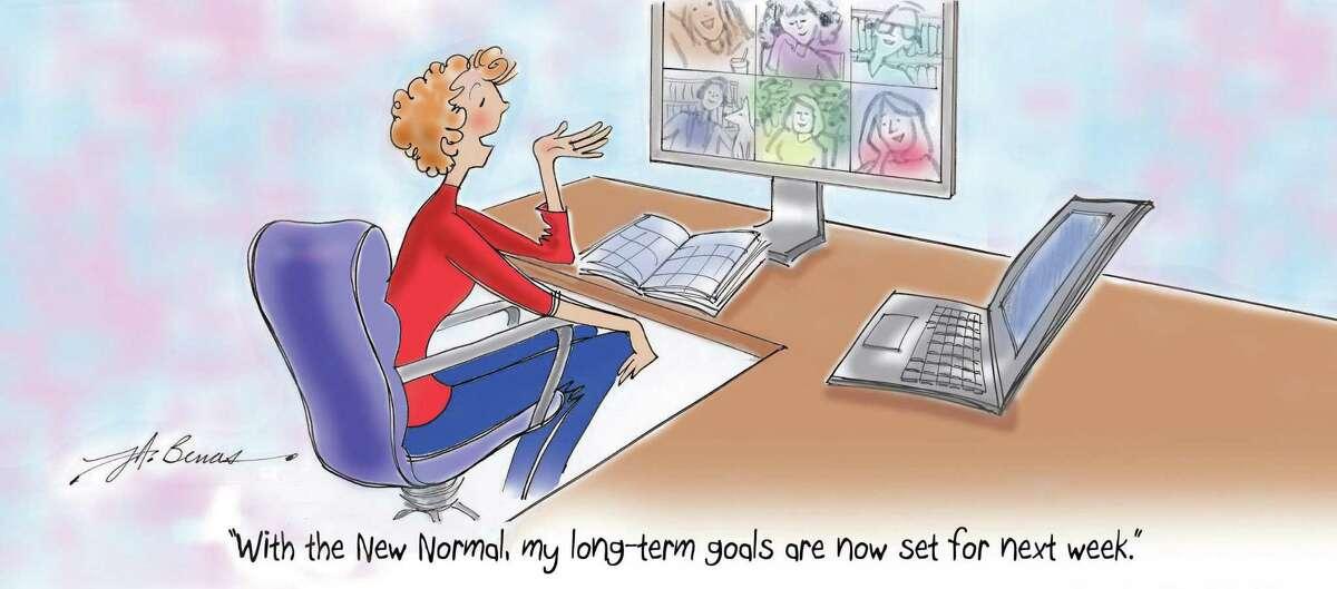 The Women@Work 2021 summer magazine cartoon by Jeanne A. Benas.