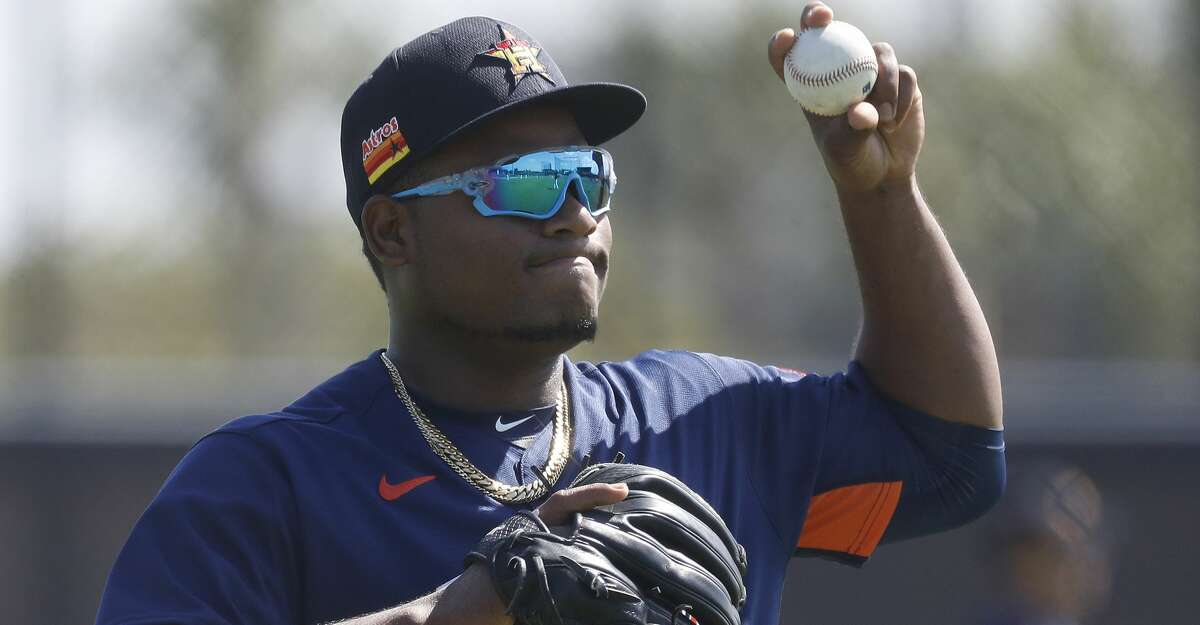Houston Astros pitcher Framber Valdez (59) during spring training workouts for the Astros at Ballpark of the Palm Beaches in West Palm Beach, Florida, Thursday, February 25, 2021.