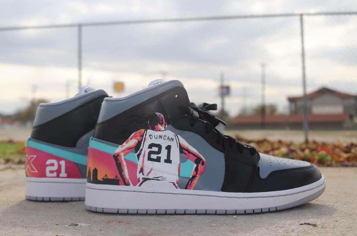 A high top pair of Nike Air Force 1 sneakers honoring Tim Duncan aren't for sale, but they're still nice to look at.