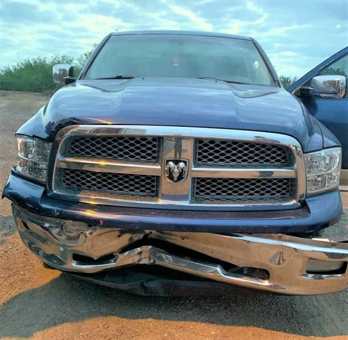 This vehicle struck a U.S. Border Patrol unit as the suspect attempted to flee during a human smuggling attempt.