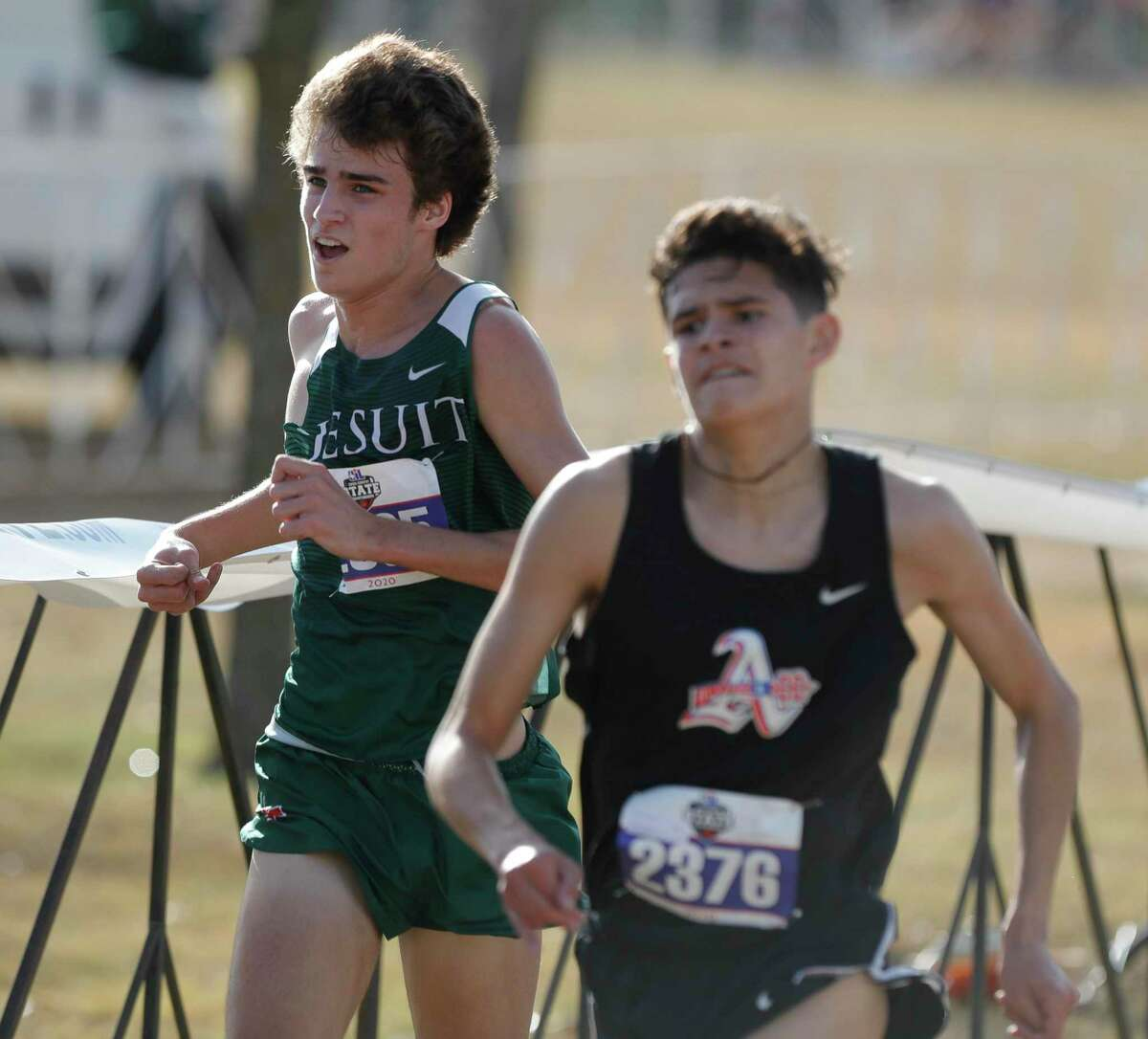 Anthony Gregory of Strake Jesuit competes in the Class 6A race during the UIL State Cross Country Championships at Old Settlers Park, Tuesday, Nov. 24, 2020, in Round Rock.