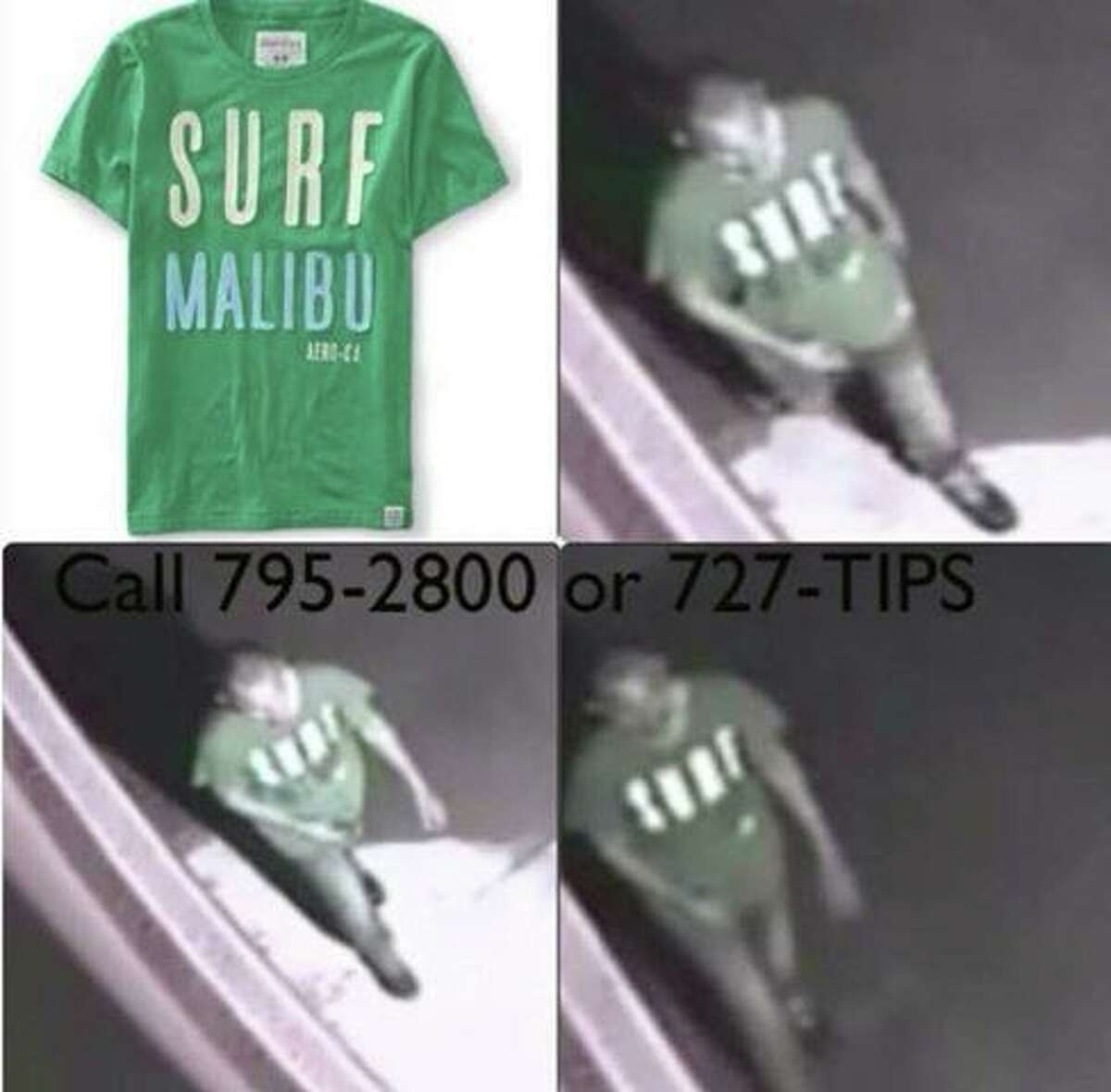 Laredo police are trying to identify this man in relation to a homicide reported in 2014. The man was believed to be using a green T-shirt similar to the one shown in this photo.