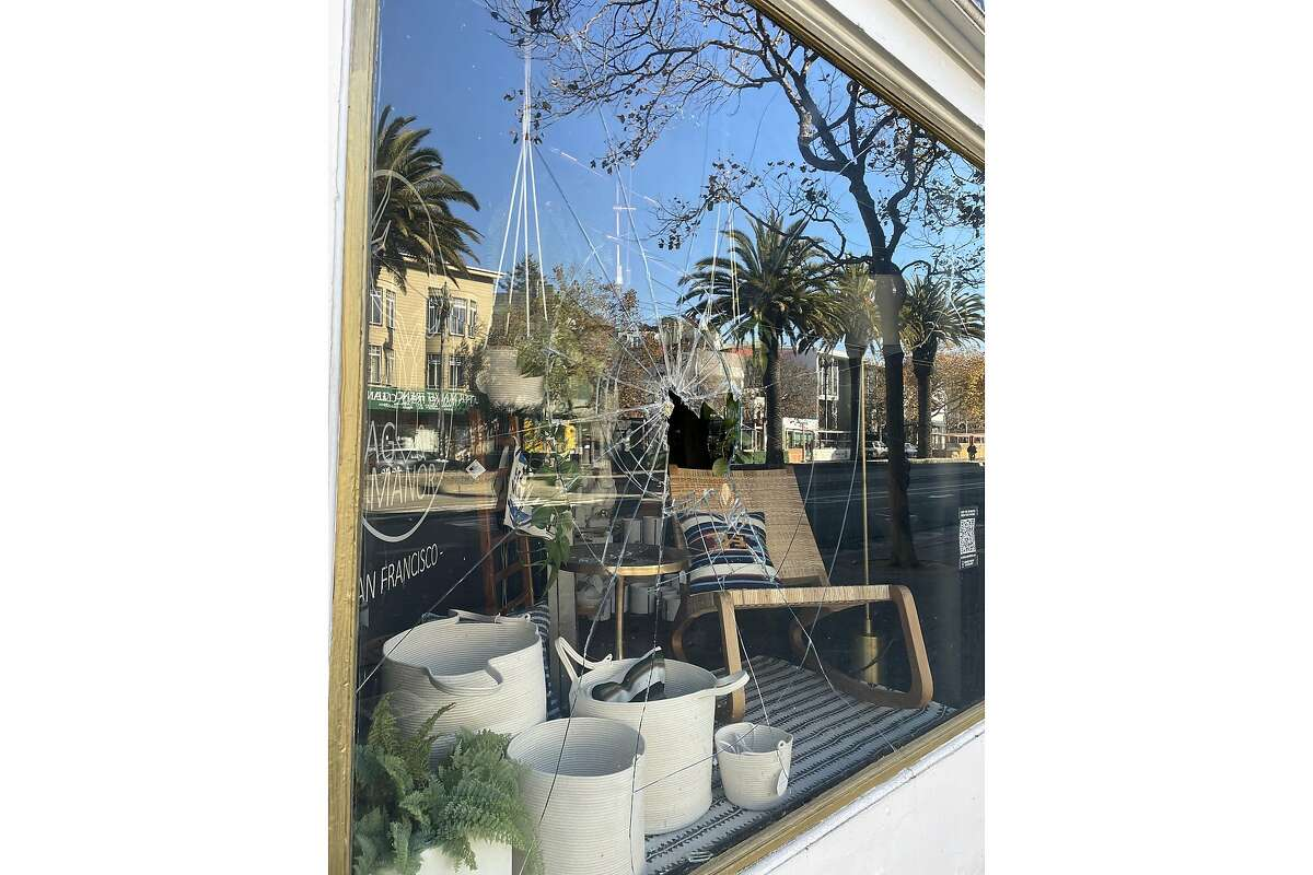 A window was smashed at Market Street store STAG & MANOR on November 24, 2020.