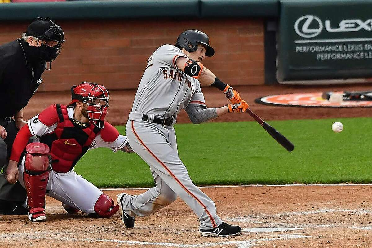 Giants right fielder Mike Yastrzemski hits a solo homer in the fifth off his former Vanderbilt teammate, the Reds' Sonny Gray.