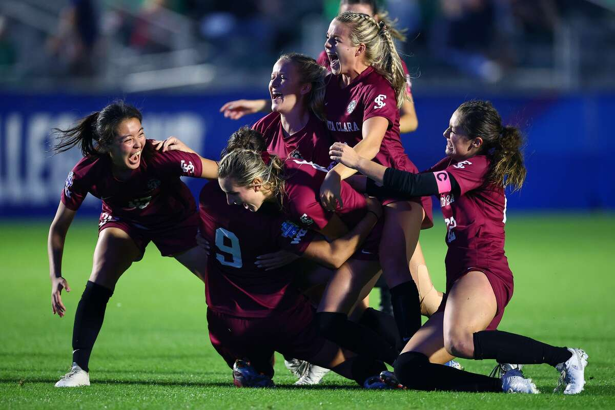 The Santa Clara Broncos celebrate after their win against the Florida State Seminoles during the Division I Women's Soccer Championship held at Sahlens Stadium at Wakemed Soccer Park on May 17, 2021 in Cary, North Carolina. Santa Clara won the national championship 2-1 in overtime.