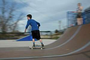 Gerome Weingerb, of Danbury, takes advantage of the warm weather Tuesday afternoon at the Danbury Skate Park, April11, 2017, in Danbury, Conn.
