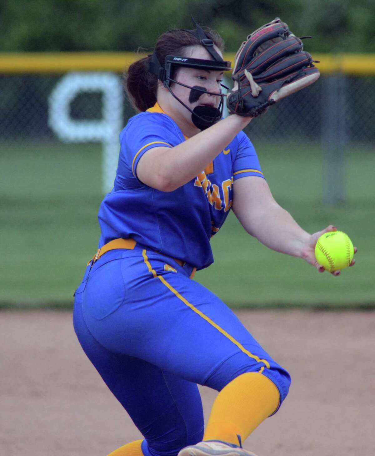 Mercy's Alexa Boone delivers a pitch against East Haven on Monday.