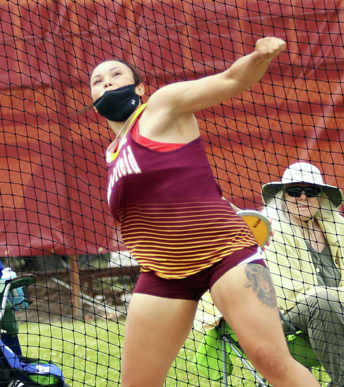 EA-WR senior Jayden Ulrich gets off a throw of 161 feet, 7 inches to set a meet record and win the discus in the Madison County Small-Schools Meet on Monday in Wood River. It is the sixth longest throw in state history.