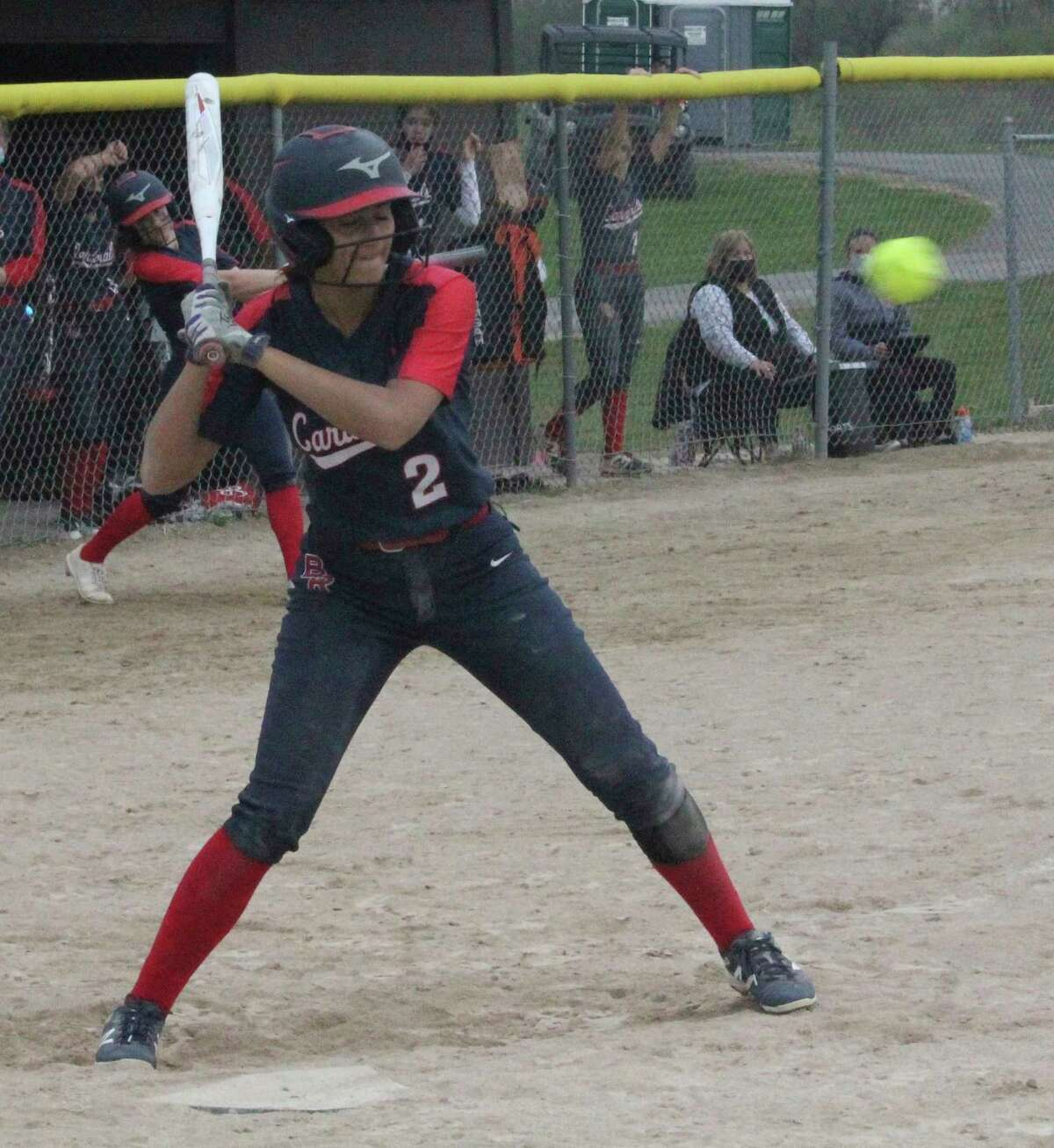 Big Rapids' Emma Daum takes a pitch in recent action. (Pioneer file photo)
