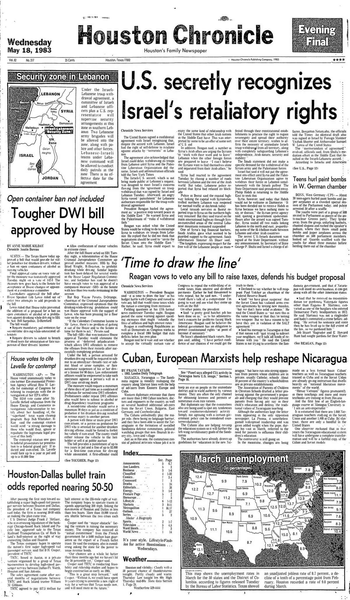 Houston Chronicle front page from 5/18/1983.