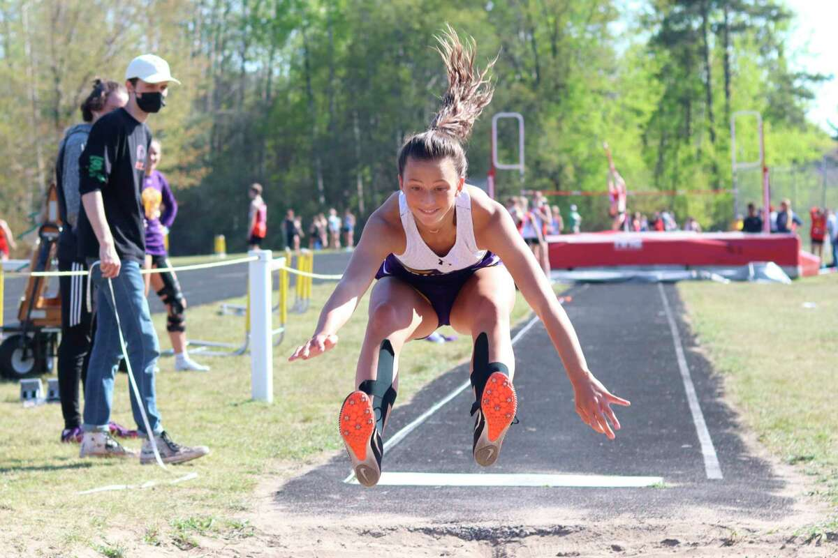 Grace Wolfe wins the long jump with a new personal best leap on May 17. (Robert Myers/Record Patriot)