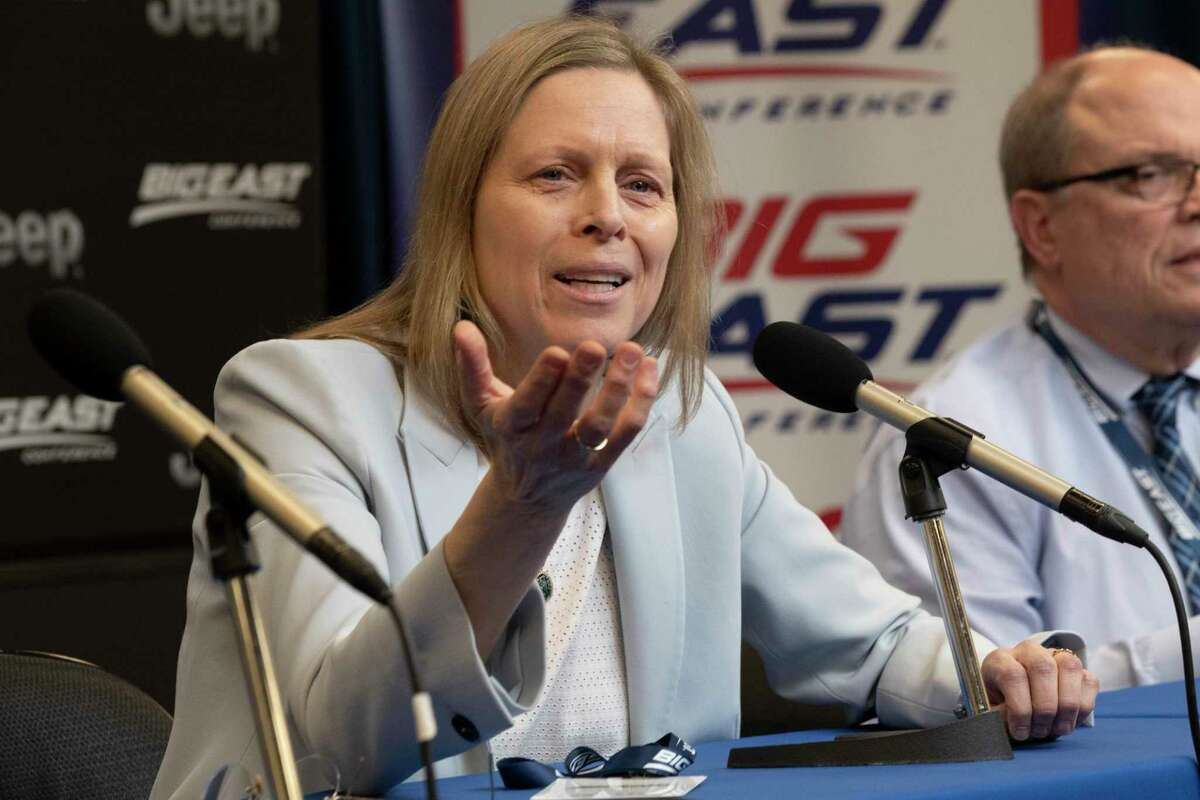 Big East Conference Commissioner Val Ackerman speaks to reporters after the remaining games in the men's Big East Conference tournament were canceled due to concerns about the coronavirus, at Madison Square Garden in New York, in 2020.