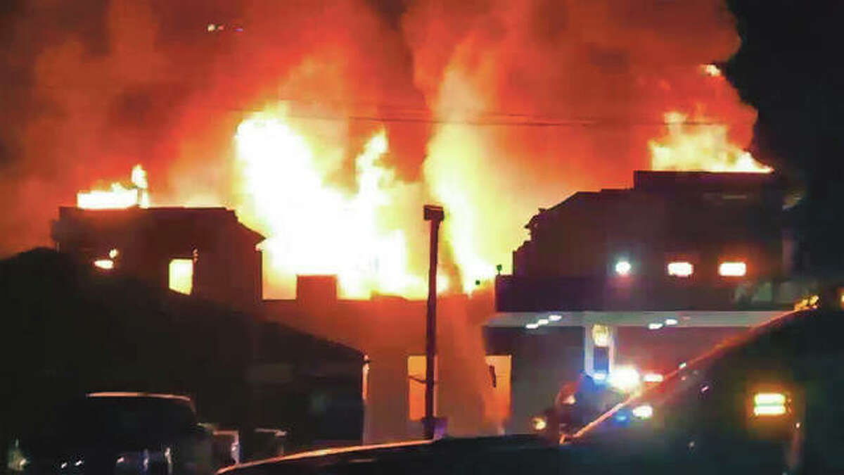 A fire that broke out Sunday evening at 601 E. Fourth St. in Beardstown had firefighters working through the night in a bid to contain the fire.