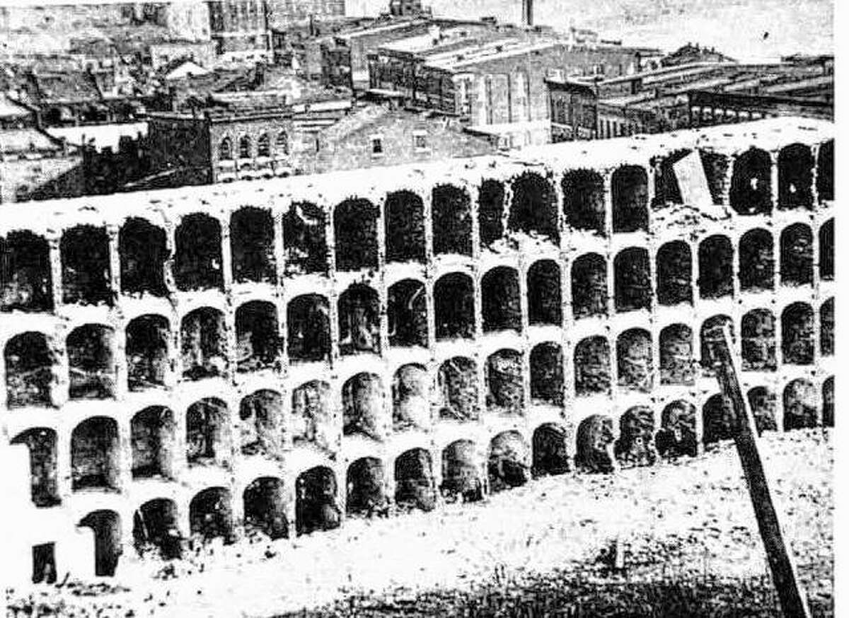 The Alton Military Prison as it appeared during demolition between 1870 and 1875.