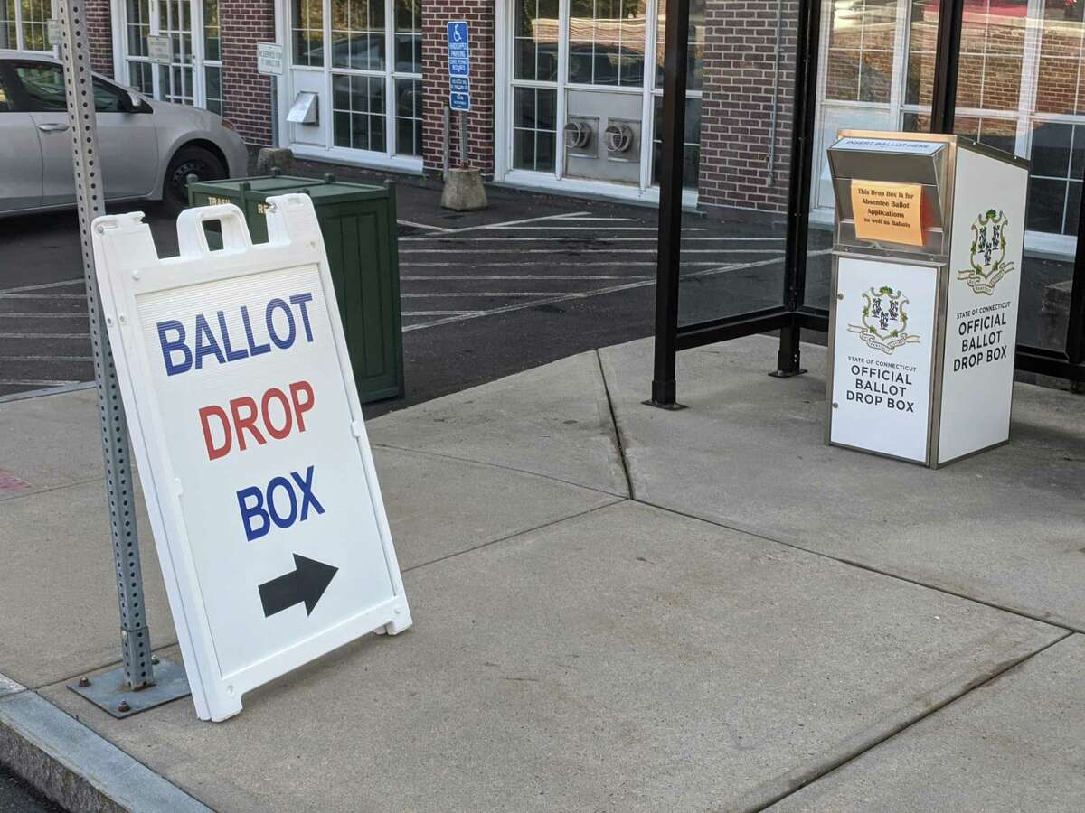 Drop boxes for voting ballots in Greenwich.