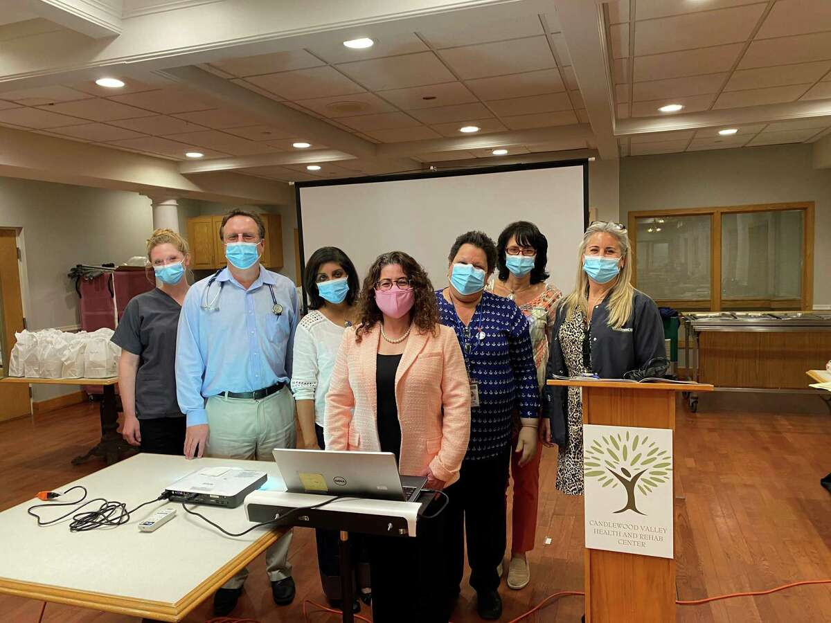 From left: Jessica Sampias, Dr. Kenneth Marici, Veena Reddy, Dr. Susann Varano, Cindy LaCour, Kim Galligan, Quinn Fusco at Candlewood Valley Health and Rehabilitation.