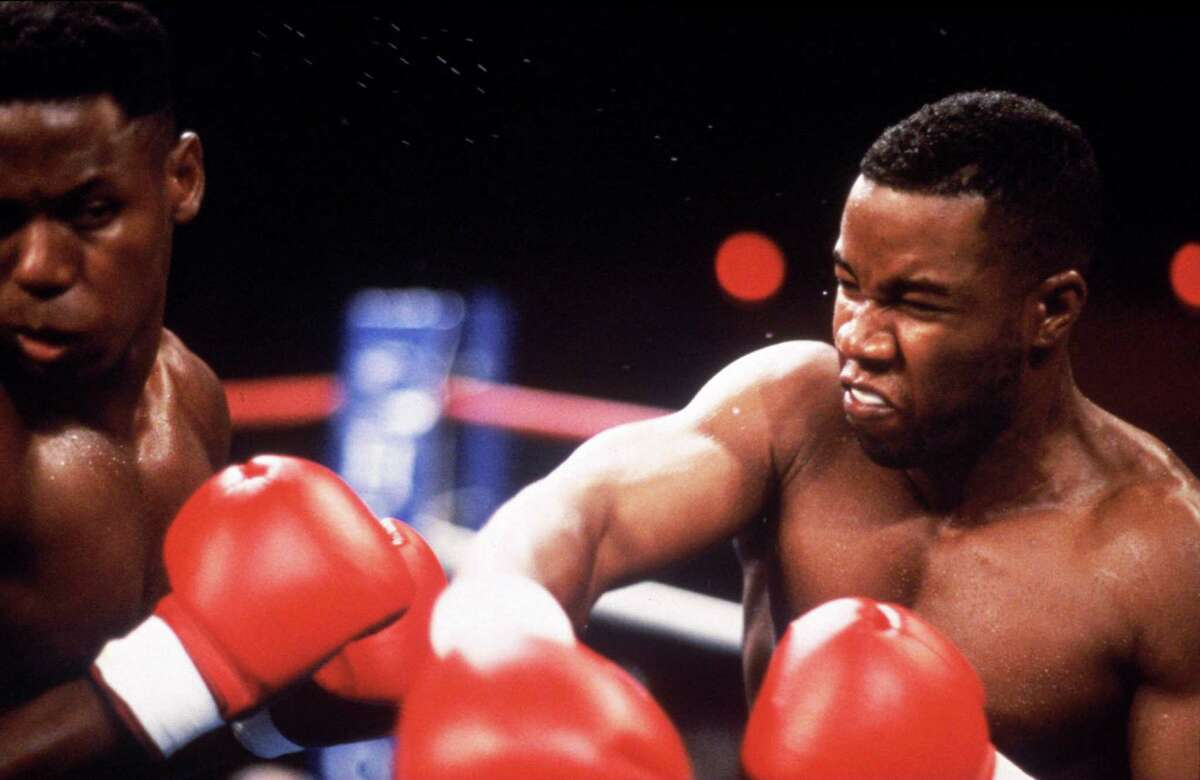 Michael Jai White, right, as boxing champion Mike Tyson.