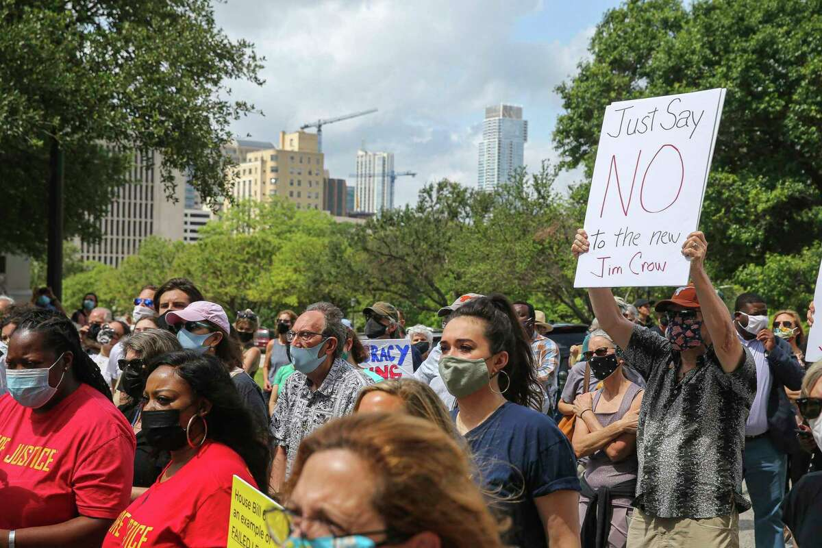 Hundreds of Texans attend a rally on the steps of the Texas Capitol building in Austin, Texas on May 8, 2021 to oppose voter suppression measures. (Aaron Martinez /Austin American-Statesman via AP)