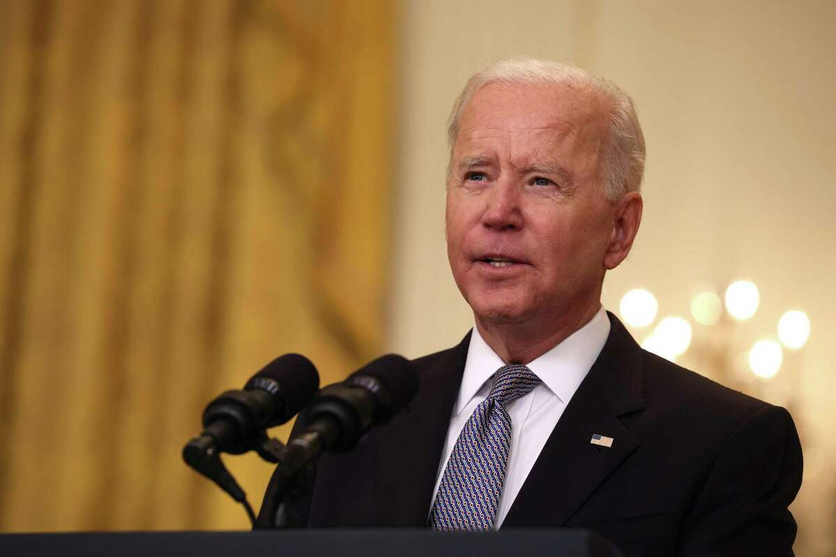 A May 17, 2021, photo of President Joe Biden, who is scheduled to give the keynote address during the U.S. Coast Guard graduation ceremony in New London, Conn., on Wednesday, May 19, 2021.