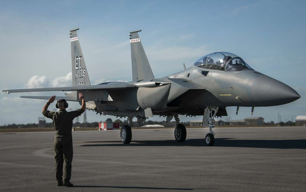 An F-15 military jet, similar to the one pictured, an F-15EX, has crashed at MidAmerica Airport