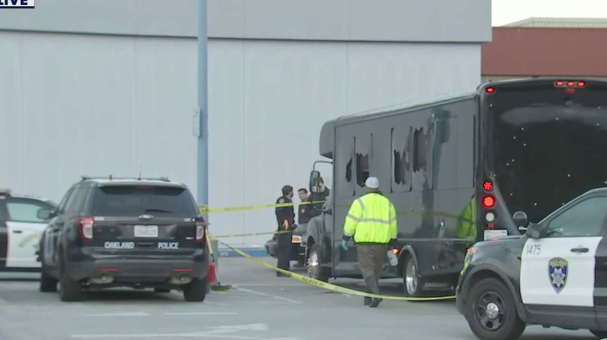 Following a shooting in Oakland, a party bus riddled in bullet holes was parked at the Oakland Police Department's Eastmont station Tuesday morning.