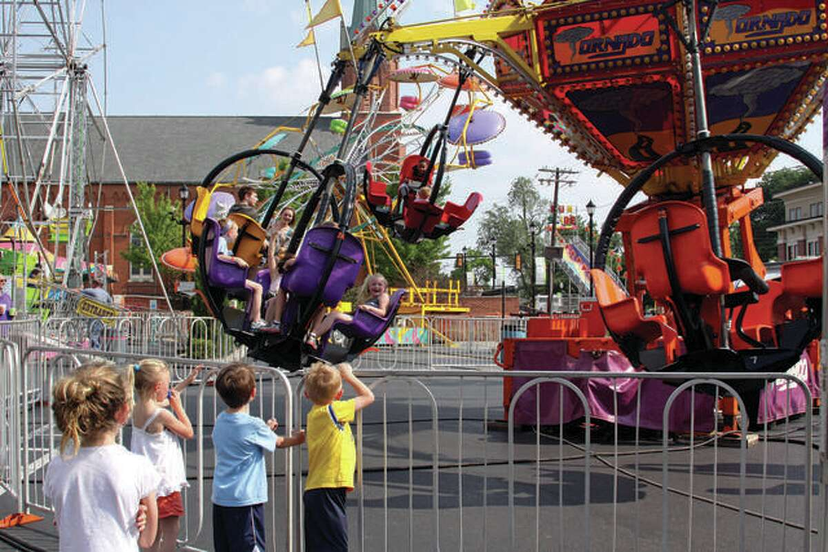 """Carnival rides were among the attraction at the 35th annual Bonifest celebration at St. Boniface Parish in Edwardsville in 2019. After the event was canceled for the second straight year due to the pandemic, St. Boniface is offering the """"Big-Bona Raffle"""" with a $75,000 grand prize."""