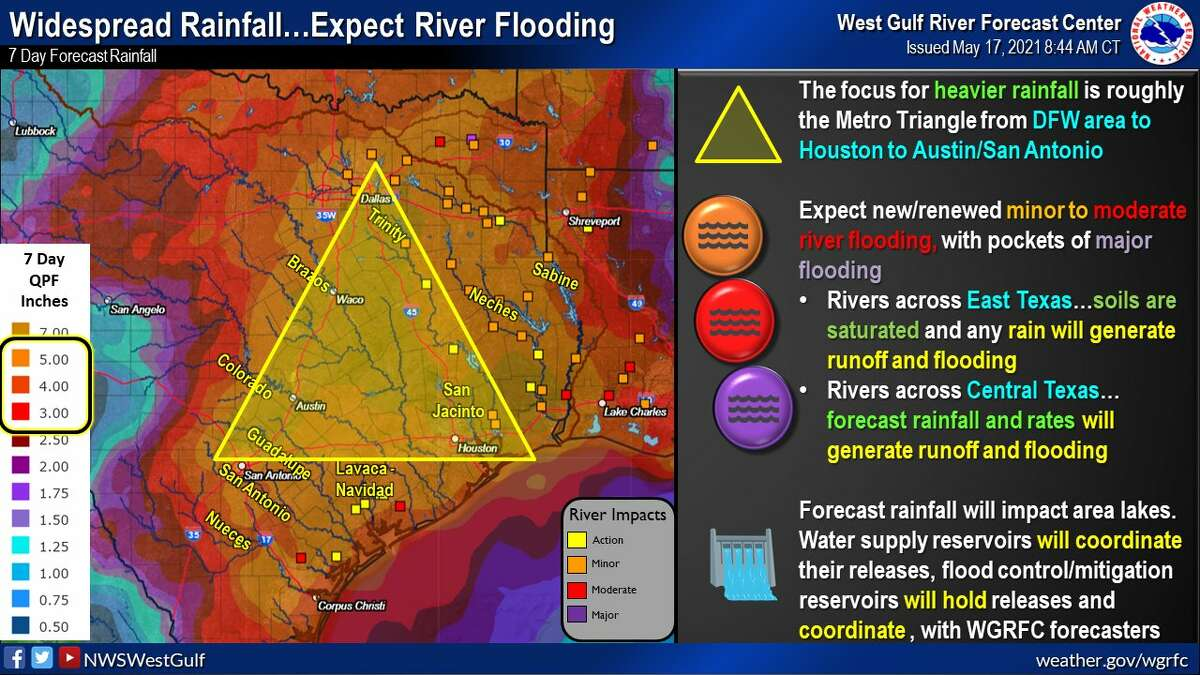 National Weather Service West Gulf River Forecast Center says to prepare for river flooding.