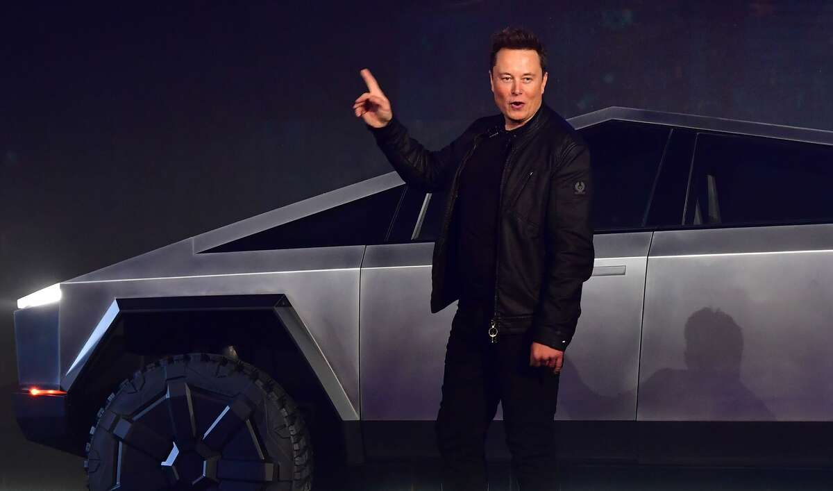 Tesla co-founder and CEO Elon Musk introduces the all-electric battery-powered Tesla Cybertruck in November 2019. Giga Texas, Tesla's new Austin factory, will produce the Cybertruck along with other Tesla models.