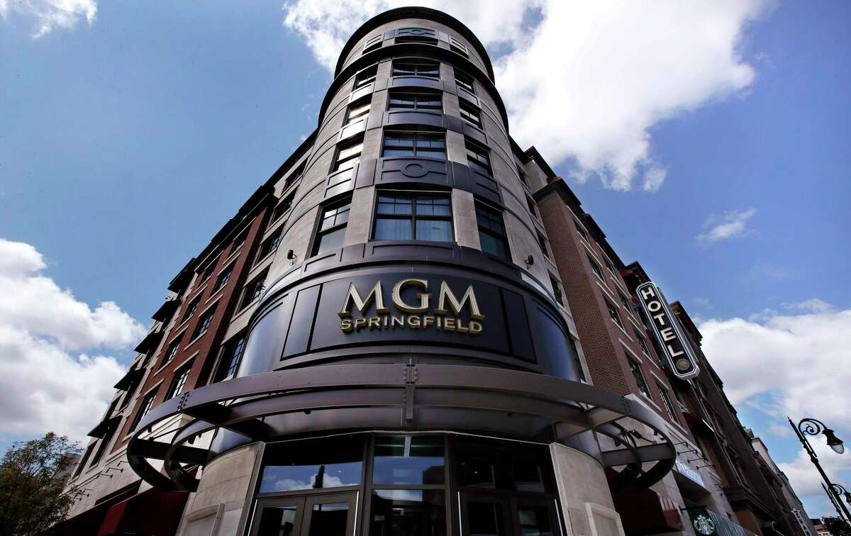 FILE -- In this Wednesday, Aug. 15, 2018 file photo the MGM Springfield casino's logo decorates the front facade on Main Street in Springfield, Mass. The opening of the casino in August was among the top stories in Massachusetts in 2018. (AP Photo/Charles Krupa, File)