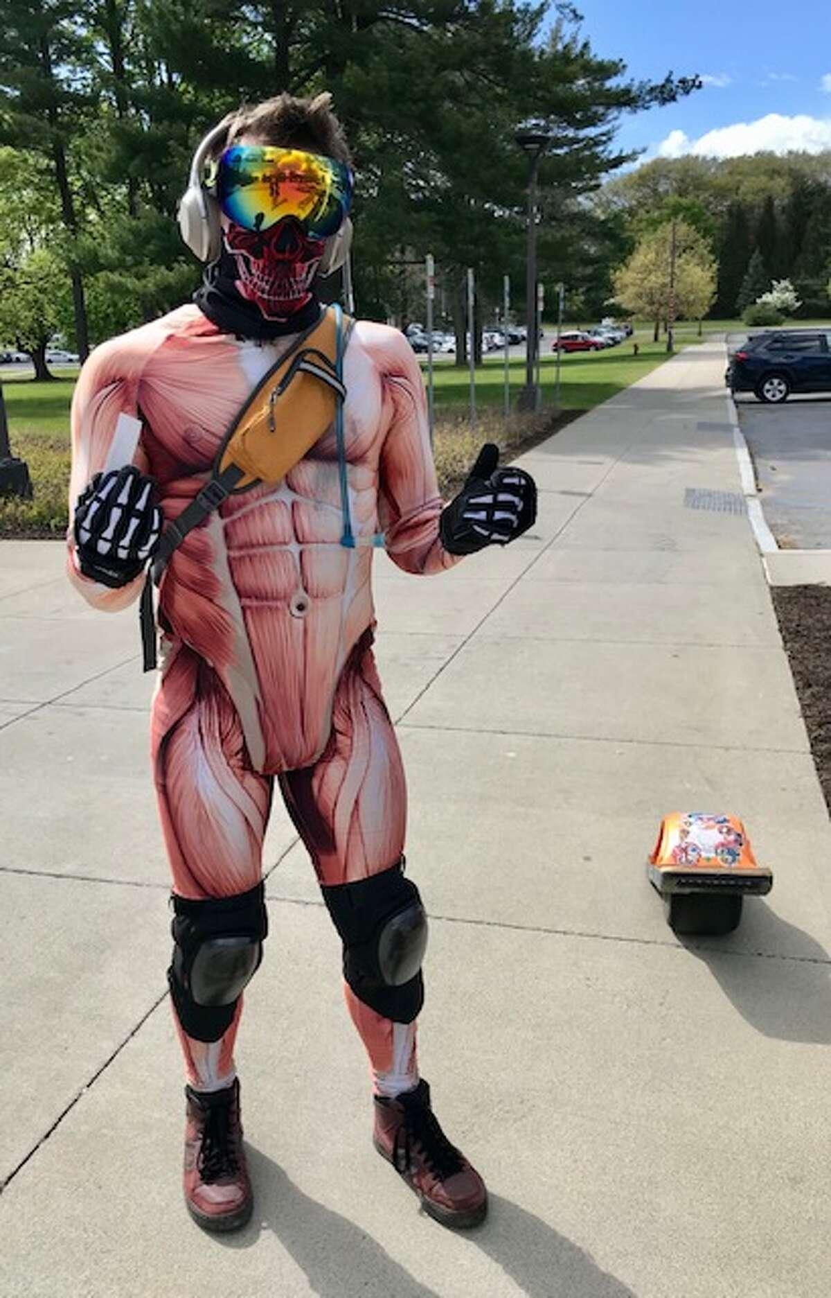 Kamil Zieba, 31, of Guilderland, said he loves making people smile as he zips past in his Spiderman-like moves after a terrible pandemic year.