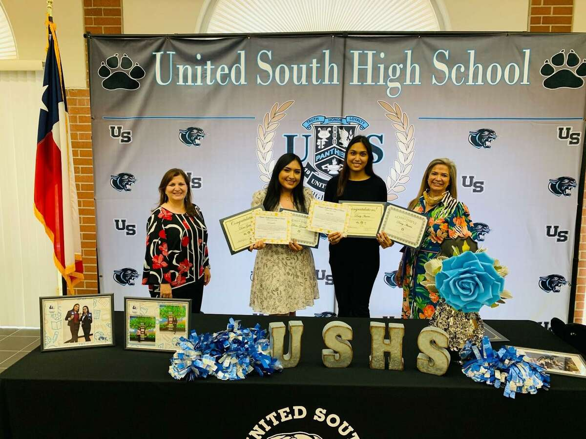 Pictured are United ISD CTE Director Angelica Sanchez, recipients and UISD employees Dora Gutierrez and Daisy Ibarra, and CTE Business and Community Partnerships Coordinator Diana Ortiz.