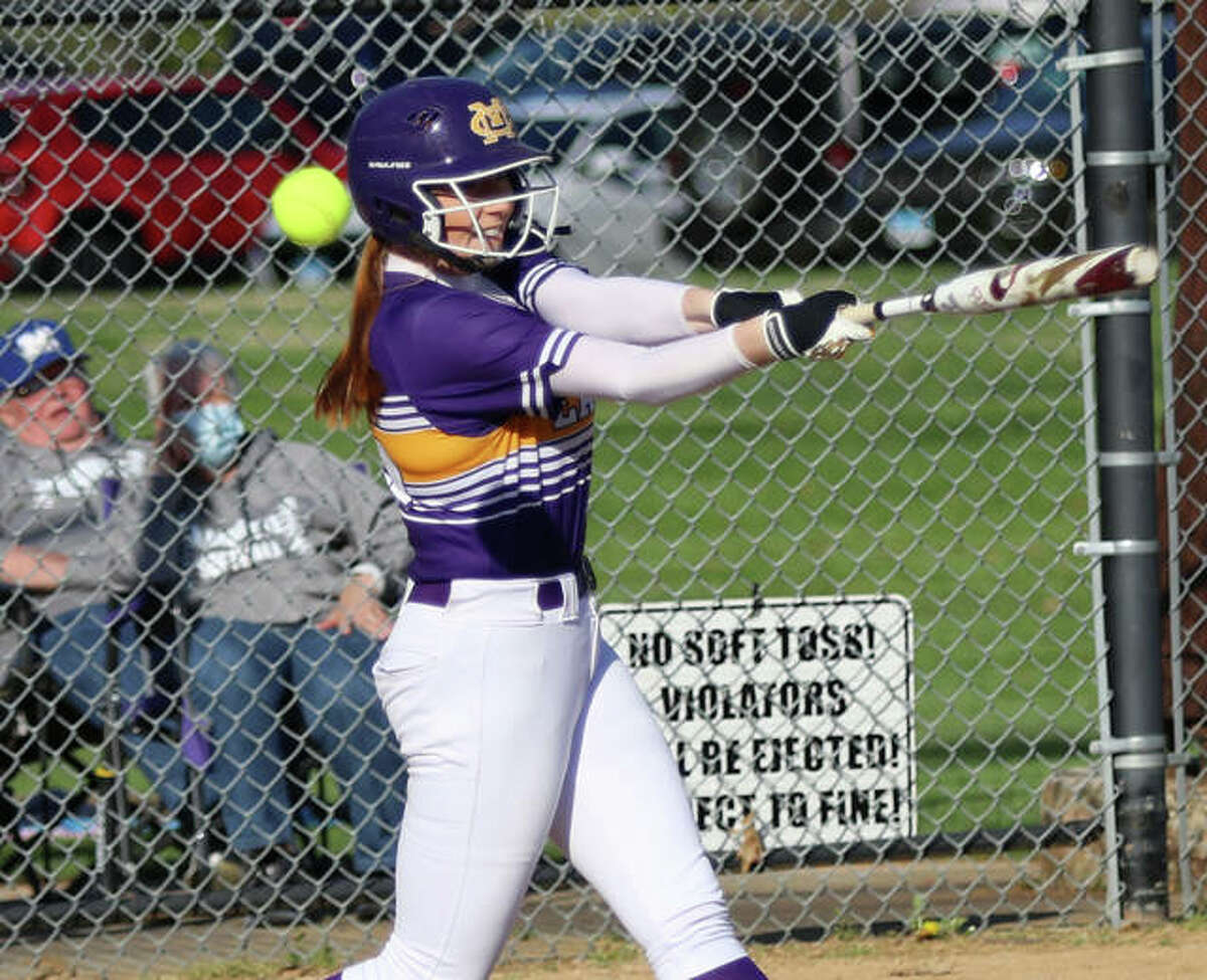 CM's Ally Hardy, shown fouling off a pitch in a game earlier this season at Moore Park in Alton, had her homer streak halted at three games in a row Monday, but the Eagles won the second successive road game by beating Mascoutah.