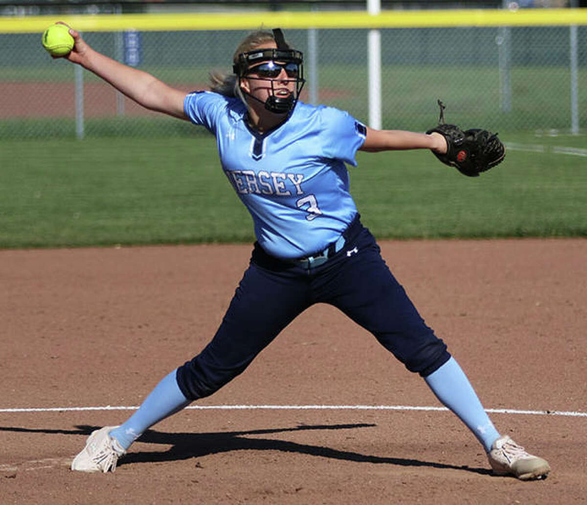 Jersey's Shelby Koenig pitched seven shutout innings, but took the loss in the Panthers' eight-inning MVC defeat to Triad on Monday in Troy. She is shown pitching earlier in the season.