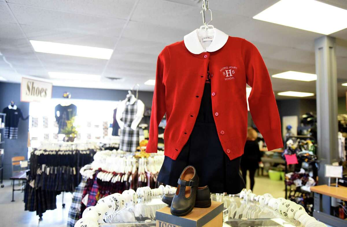 School clothing is displayed at Student Styles on Monday, March 22, 2021, in Colonie, N.Y. (Will Waldron/Times Union)