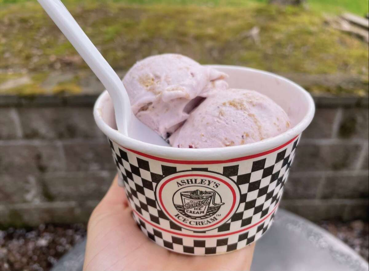 Don't Be Blue-berry, blueberry ice cream with graham pie crust swirl, is one of two flavors Ashley's Ice Cream in Guilford is offering throughout May in a partnership with Guilford High School's Mental Health Club BC2M Mental Health Awareness Alliance.