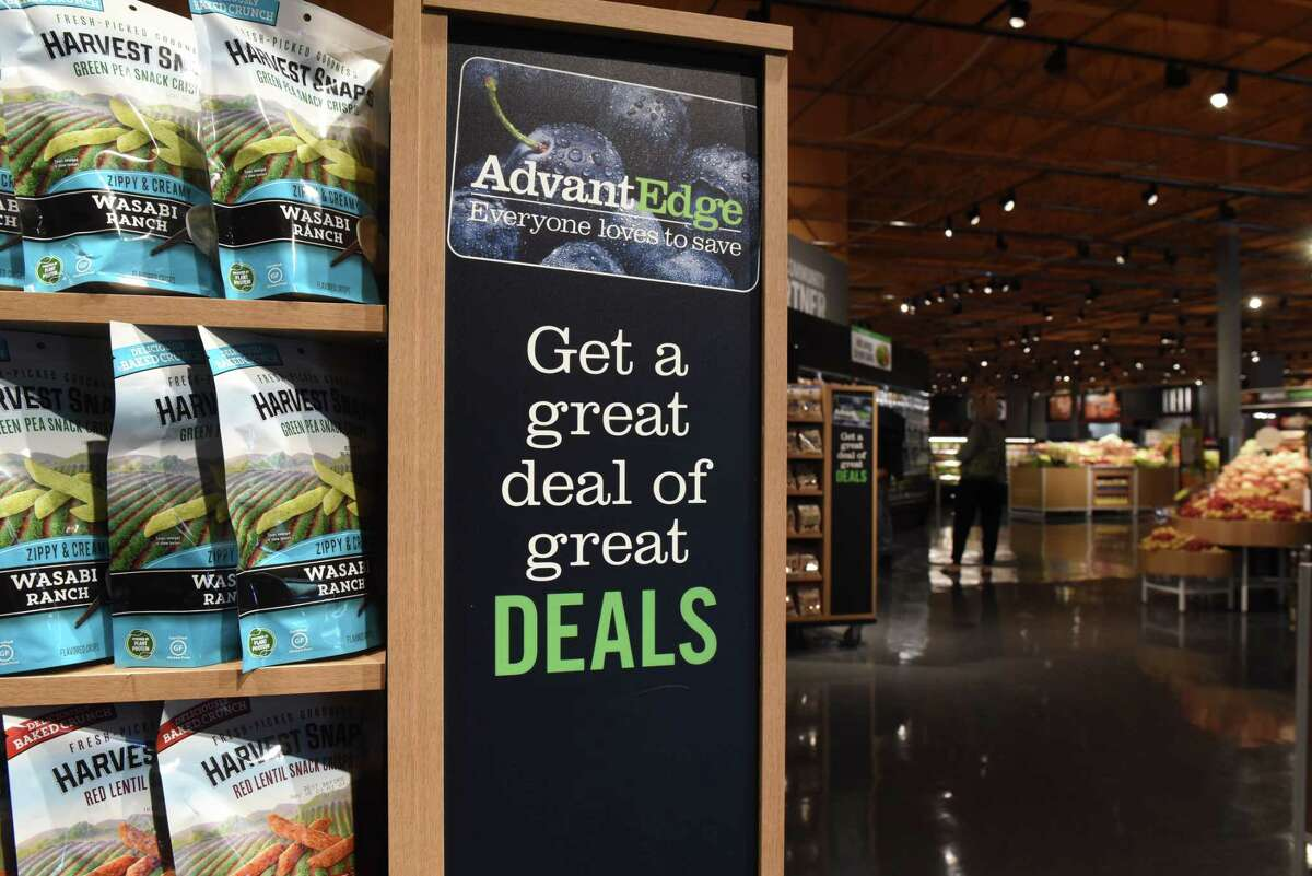 Signage in the Slingerlands Price Chopper/Market 32 touts the supermarket's rewards program, AdvantEdge, on Tuesday, May 18, 2021, in Slingerlands, N.Y. Price Chopper has expanded its rewards to include student loan payments, supporting schools and charitable donations. (Will Waldron/Times Union)